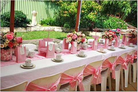 No ribbons on chairs though and replace flowers with for High tea decor ideas