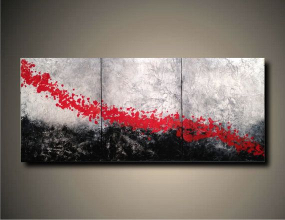 Art Original Abstract Painting Modern Black White Red Landscape