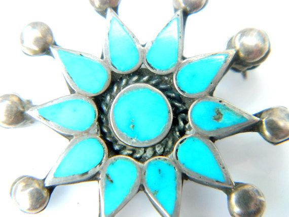 Zuni Native American Turquoise Brooch Sterling Silver 'AN' Artist Signed Petit Point Sleeping Beauty Star Brooch Vintage Collectible Jewelry by JewelryQuestDesign, $52.99