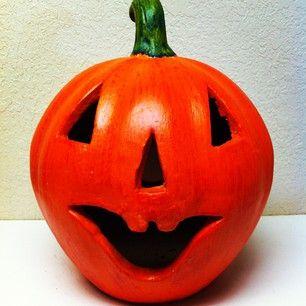 Terra Cotta Jack-O-Lantern #oldworldpotteryofwichitafalls #terracotta #mexico #jackolantern #halloween #pumpkin #decor #orange #smiling #