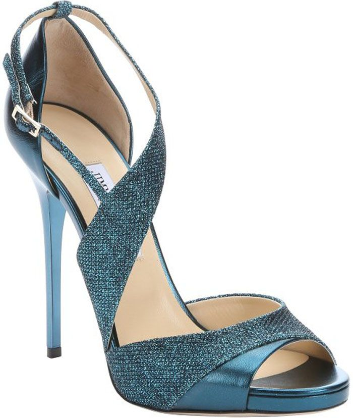264bcbd36095 Jimmy Choo Ocean Metallic Leather And Glitter Lamé  Tyne  Stiletto Sandals