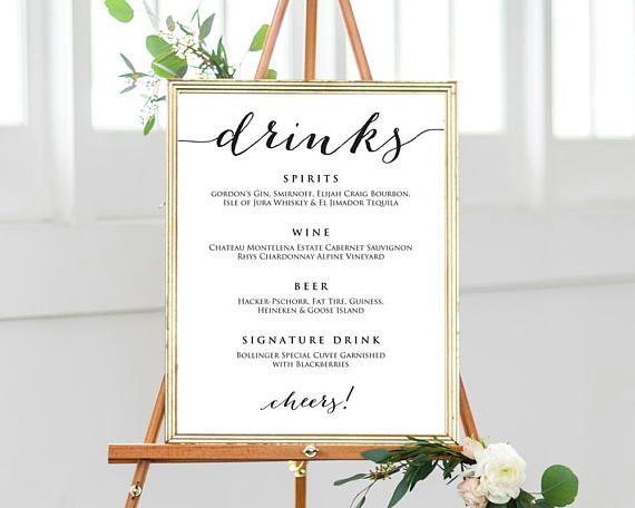 Wedding Drinks Menu Wedding Drinks Sign Drinks Menu Template 16
