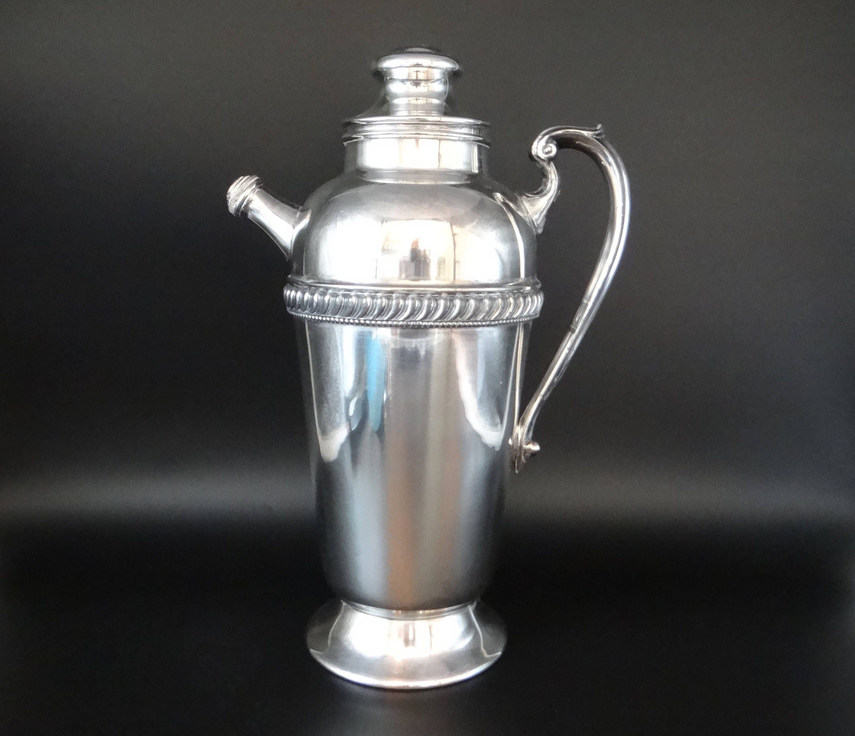 Vintage LB Silverplate Cocktail Shaker With Handle And Spout U2013 Elegant  Barware U2013 Mad Men Style