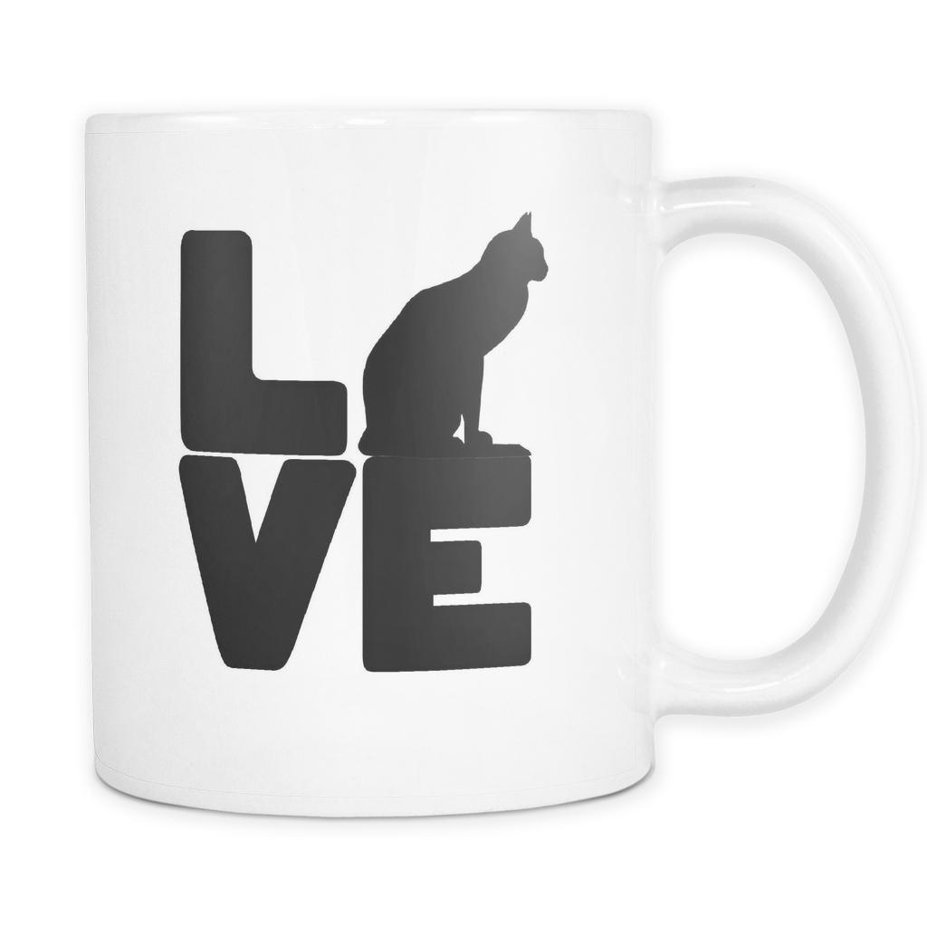Love Cat coffee mug white 11oz Cat coffee mug, Coffee