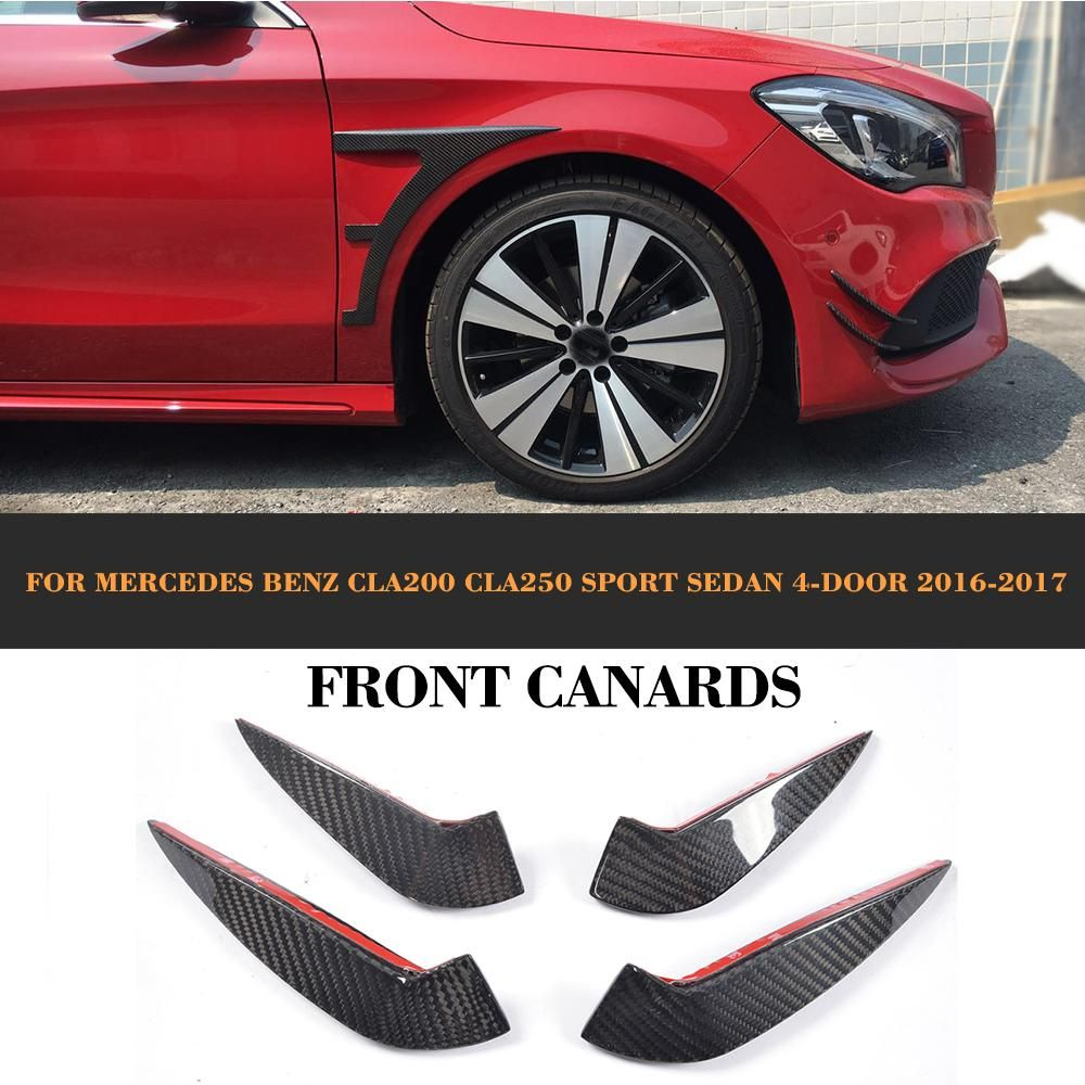 Cla Class Carbon Fiber Front Canards For Mercedes Benz Cla200 Cla250 Sport Sedan 4 Door 2016 2017 Fits Cla More Detailed Pro Sports Sedan Benz Mercedes Benz