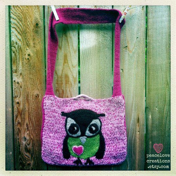 Crochet Felted Owl Bag Owl Bags Felt Owls And Felting