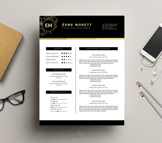 Page Resume Template  Free Cover Letter  Fashion Resume Design
