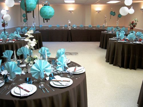Chocolate And Teal Wedding Reception: Brown And Blue Wedding Decor