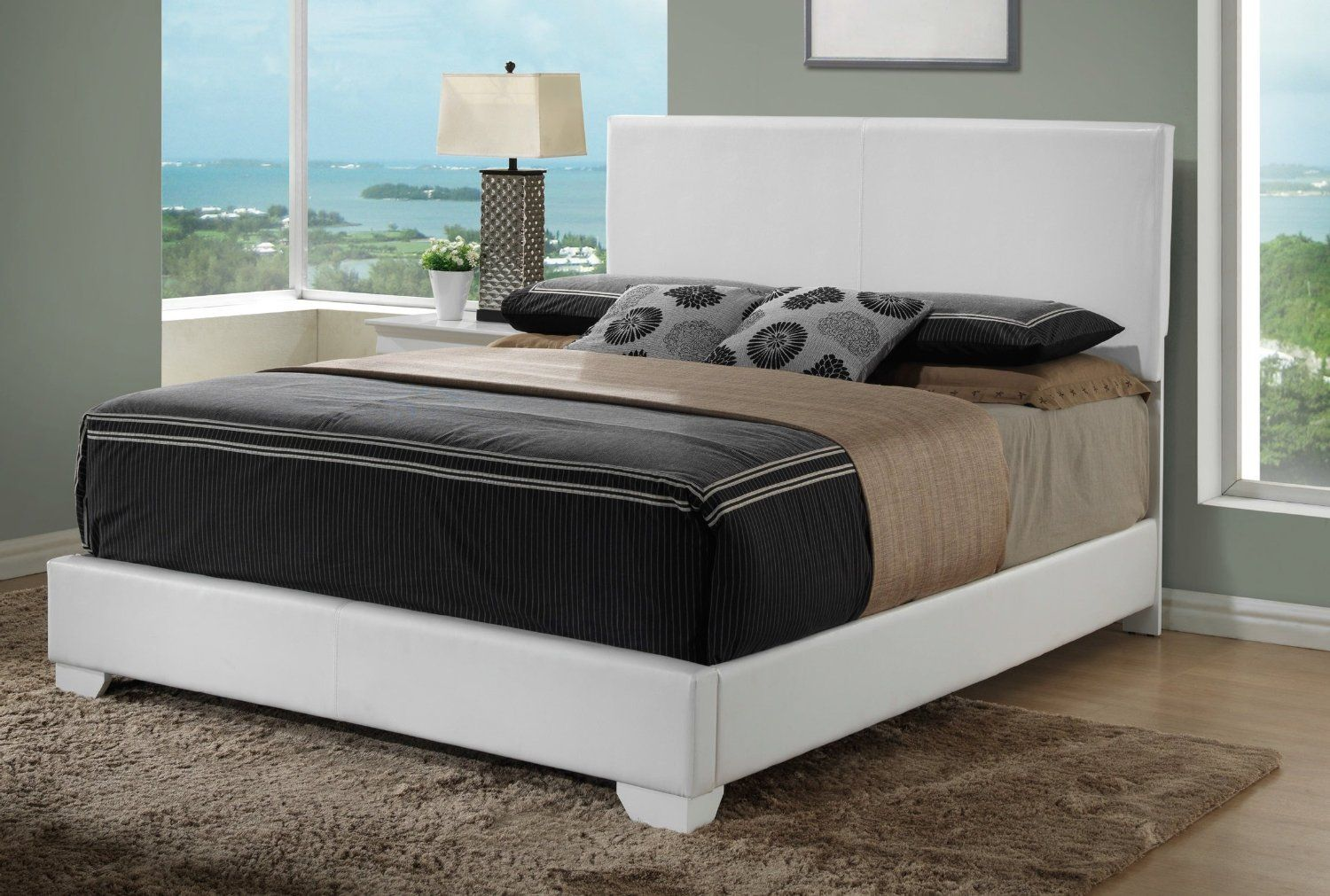 Bedroom modern white headboard and floating bed design solid black