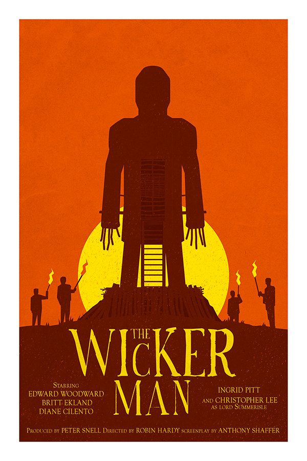 The Wickerman Christopher Lee Repro POSTER Orange