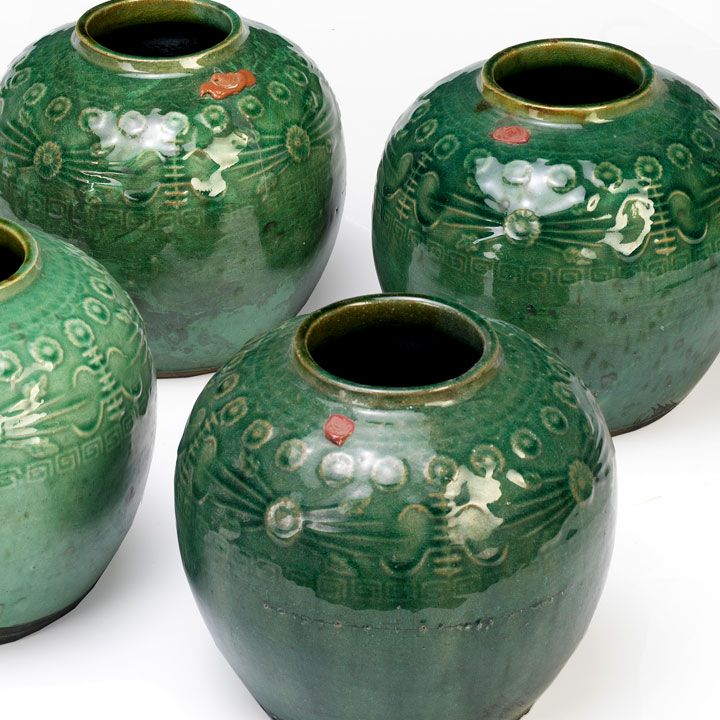 The Deco Haus Tagged Blue: Ginger Jars In Green Glaze, Chinese Ceramics From Shimu