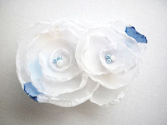 Wedding Hair Accessories White & Blue Double by SenoritaJoya, $25.00