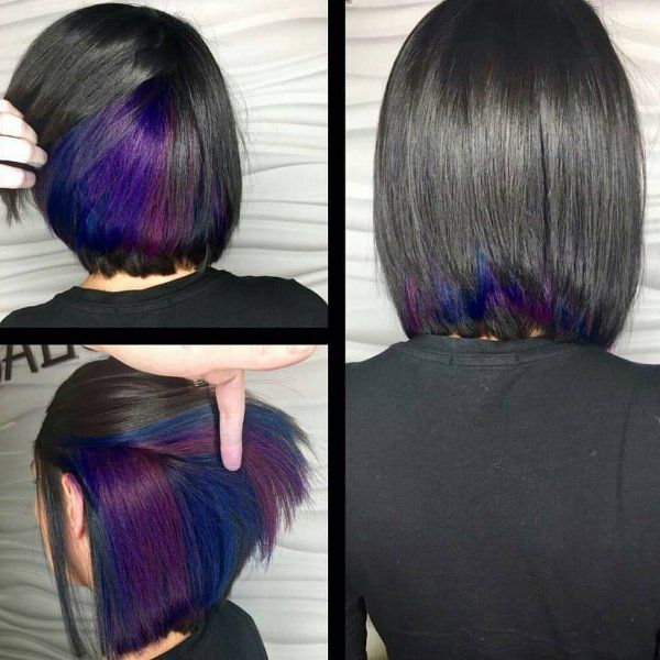 Black Hair With Highlights Blonde Red Brown Caramel Blue And Purple Hints For A Stunning Look Short Hair Styles Hair Styles Peekaboo Hair