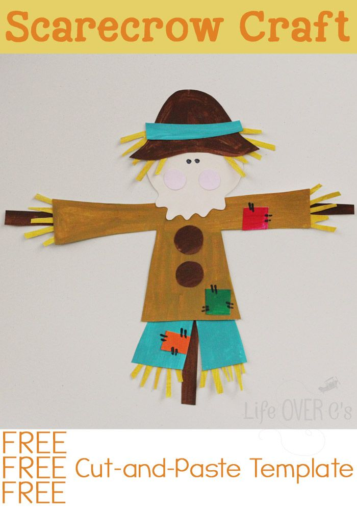 Free cut-and-paste template for a cute fall scarecrow craft.