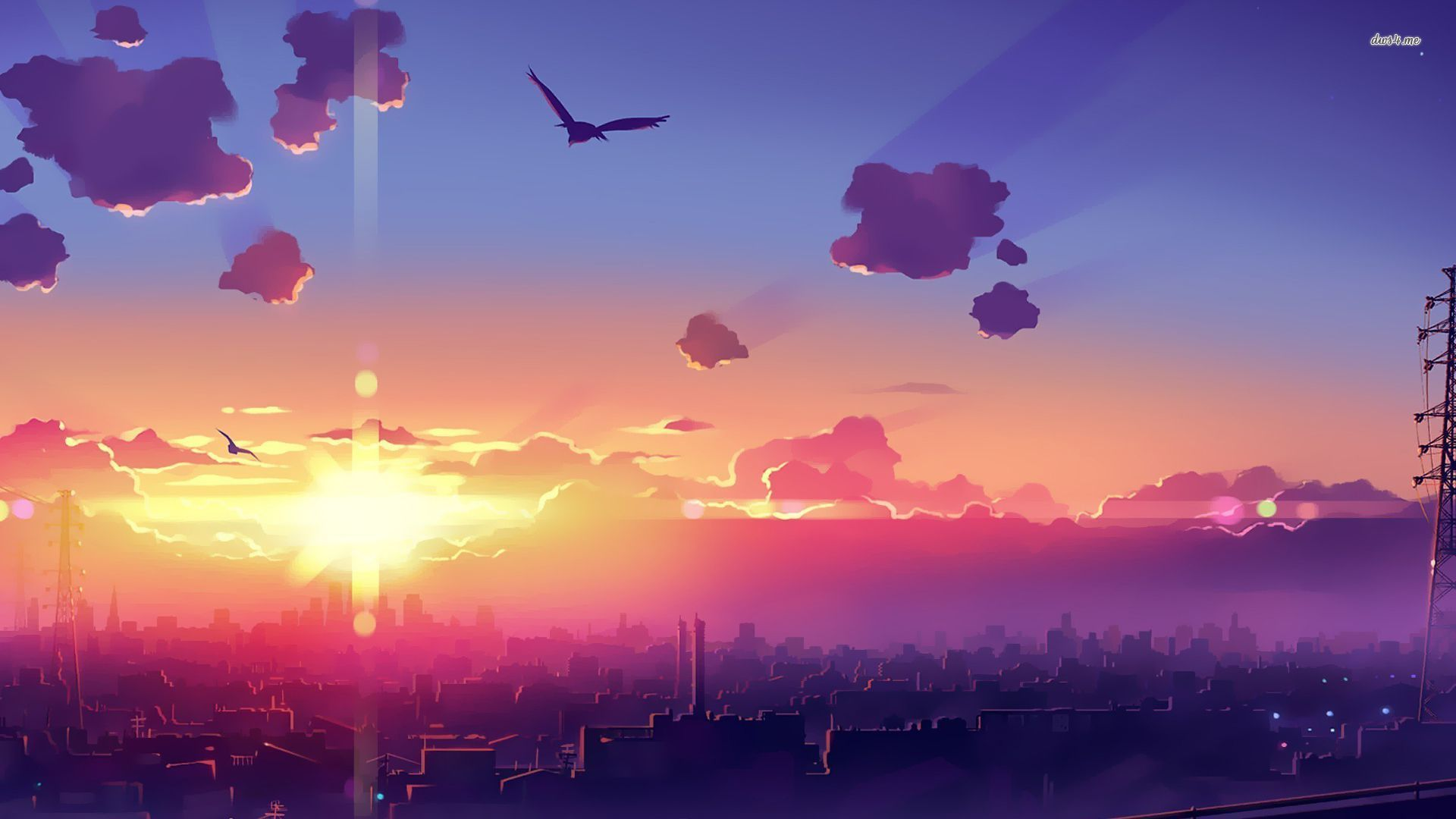 Amazing sunset above the city wallpaper Anime wallpapers