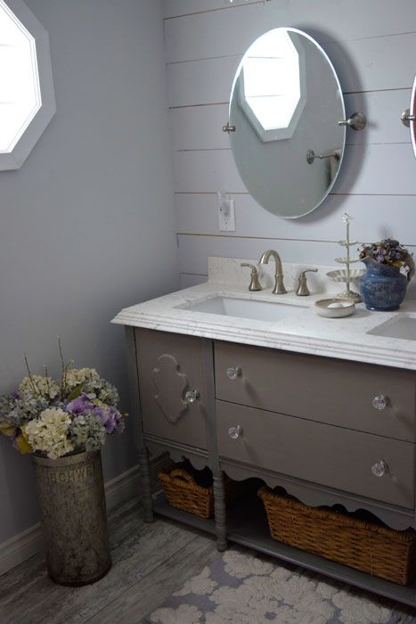 Stunning Vintage Buffet Turned Into Double Vanity Painted With Miss Mustard Seeds Schloss Milk
