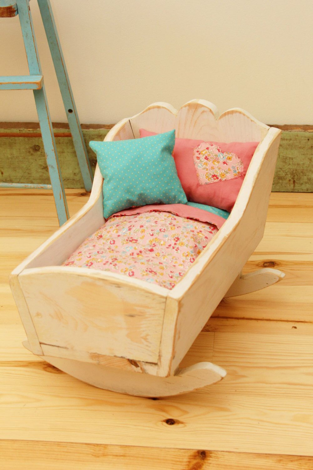 refinished vintage shabby chic doll cradle with bedding by on etsy https