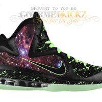 """buy popular 8f90a ad5df Nike LeBron 9 Galaxy Foamposite Custom """"King of the Galaxy"""" by GourmetKickz"""