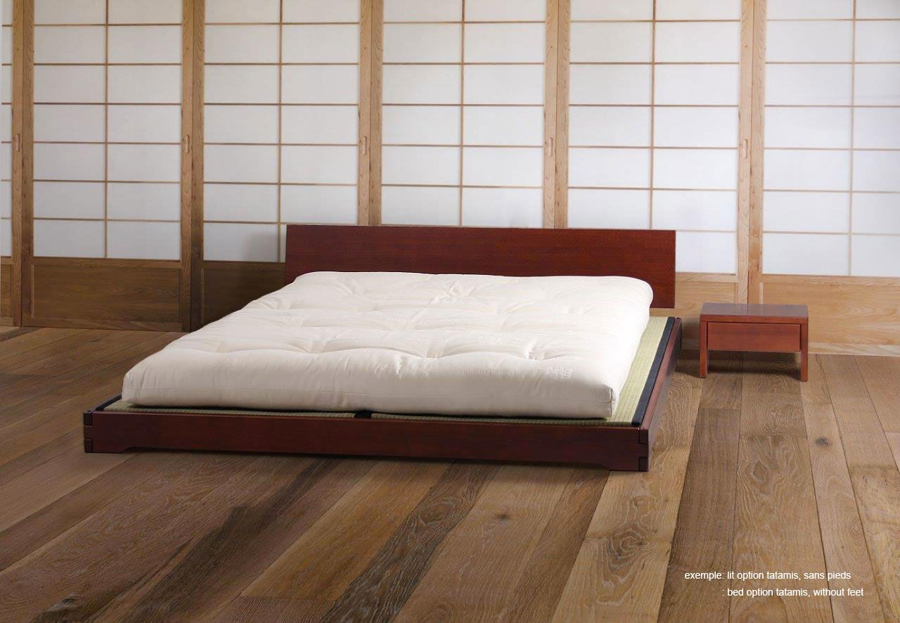 Matelas Au Sol Sommier exemple du lit japan au sol, avec tête de lit pleine | lit