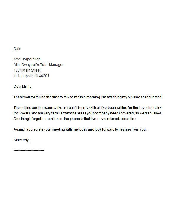 Thank You Letter After Interview Template Best Business Job Career