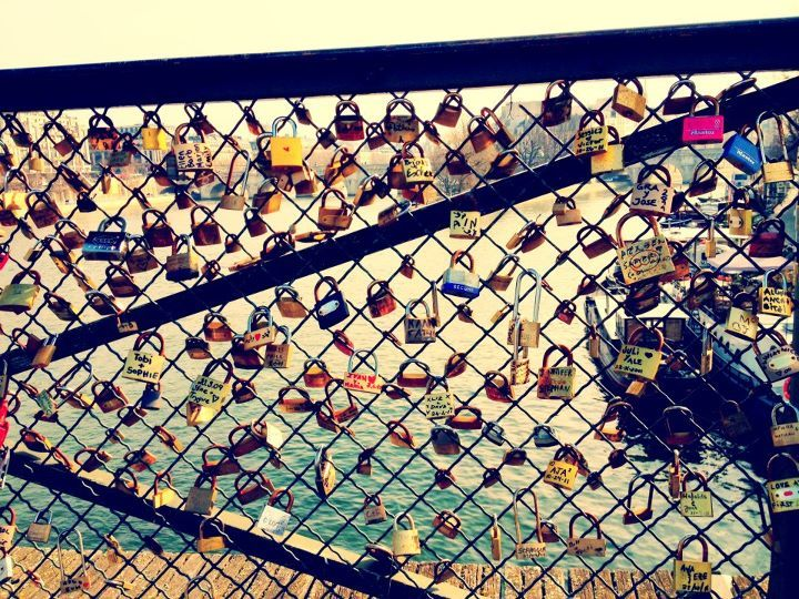 Rodelle in Paris. I saw this on a bridge in germany , couples write their names on a lock meaning they'll be together forever , so cute