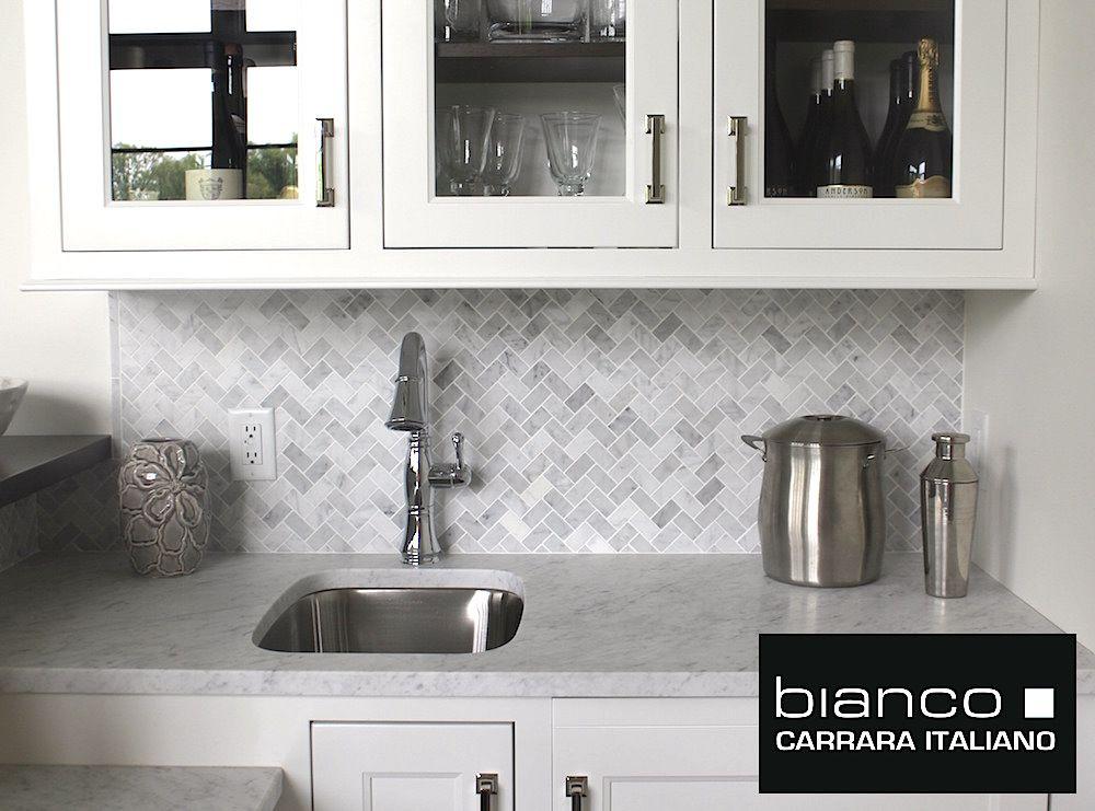 Carrara Bianco Herringbone Mosaic Google Search Herringbone Tile Backsplash Kitchen Kitchen Backsplash Designs Herringbone Tile Backsplash