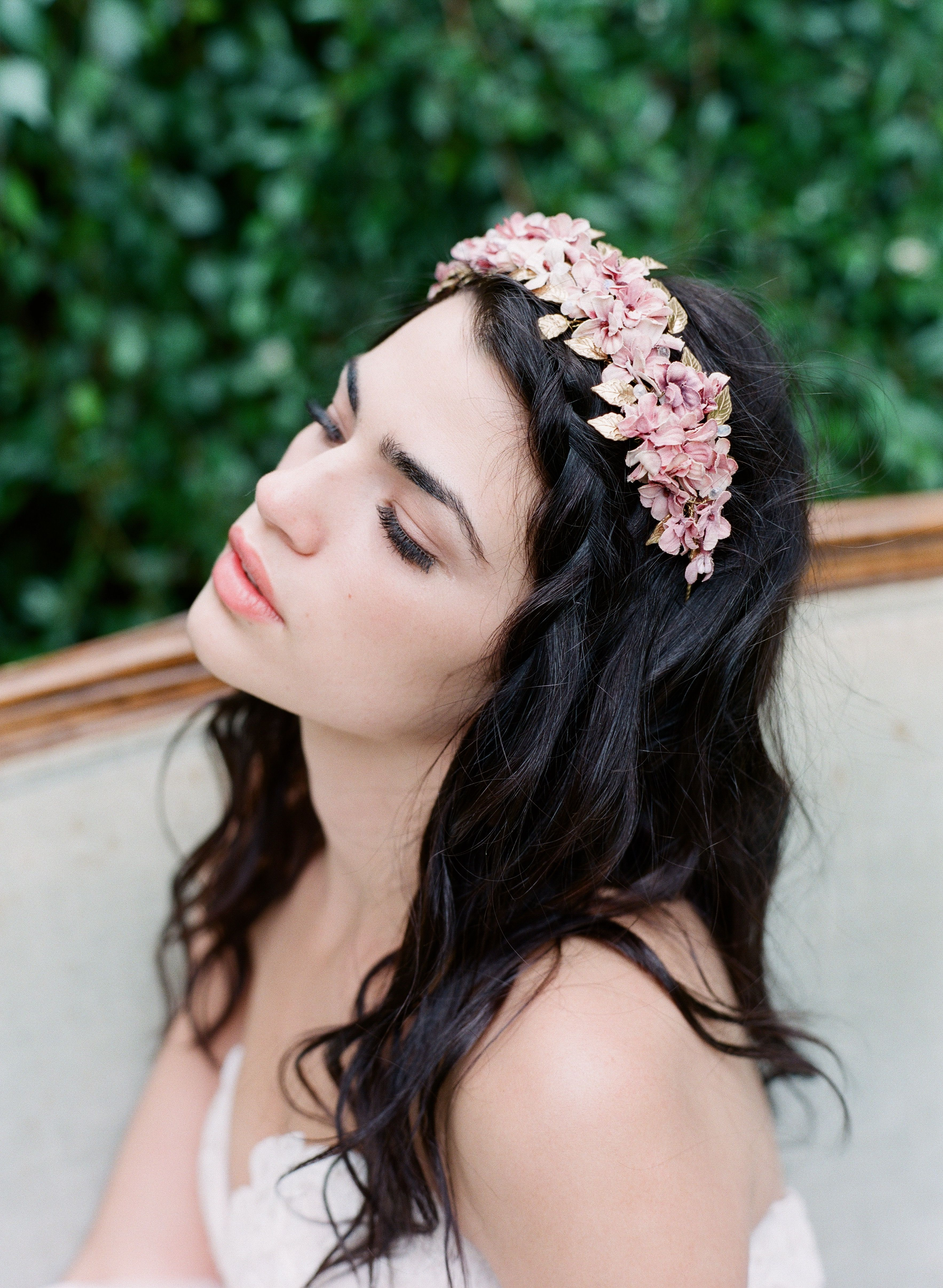 half up half down bridal style wedding hairstyle with flower crown