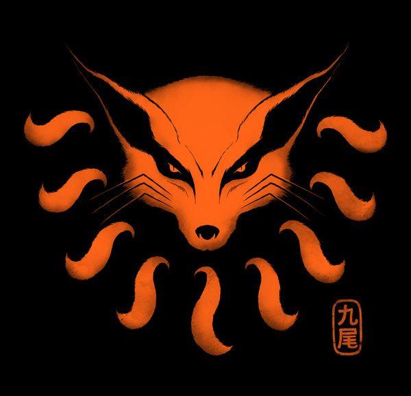 9 tailed beast art print naruto demon fox kitsune