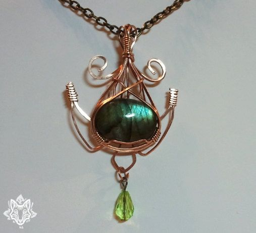 Sea Turtle FORESTFOX - Bronze Wire Wrapped Green and Blue Flash Labradorite Pendant With Chain