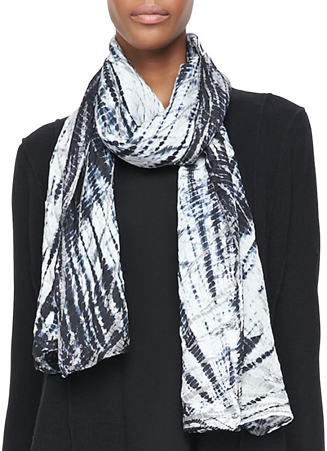 472f67f88 Eileen Fisher Twilight Shibori Silk Scarf, Black on shopstyle.com ...