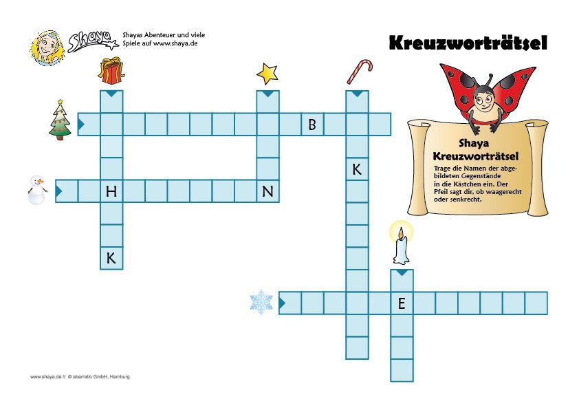 Weihnachtliches Kreuzworträtsel für Kinder #printable #rätsel ...