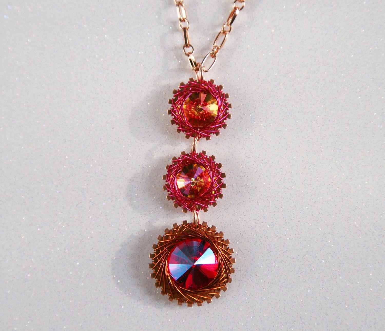 Spirograph Inspired Design, Wire Wrapped Triple Swarovski Crystal Rivoli Necklace, Light Siam Shimmer and Mystic Amber by SparkleBunnyFrouFrou on Etsy