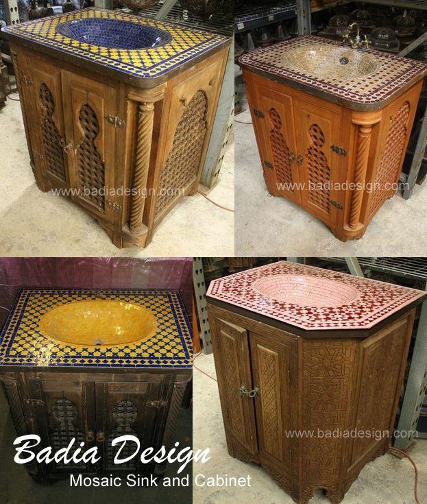 Mosaic Sinks And Vanity Cabinets Moroccan Bathroom Diy Bathroom Vanity Room Tiles