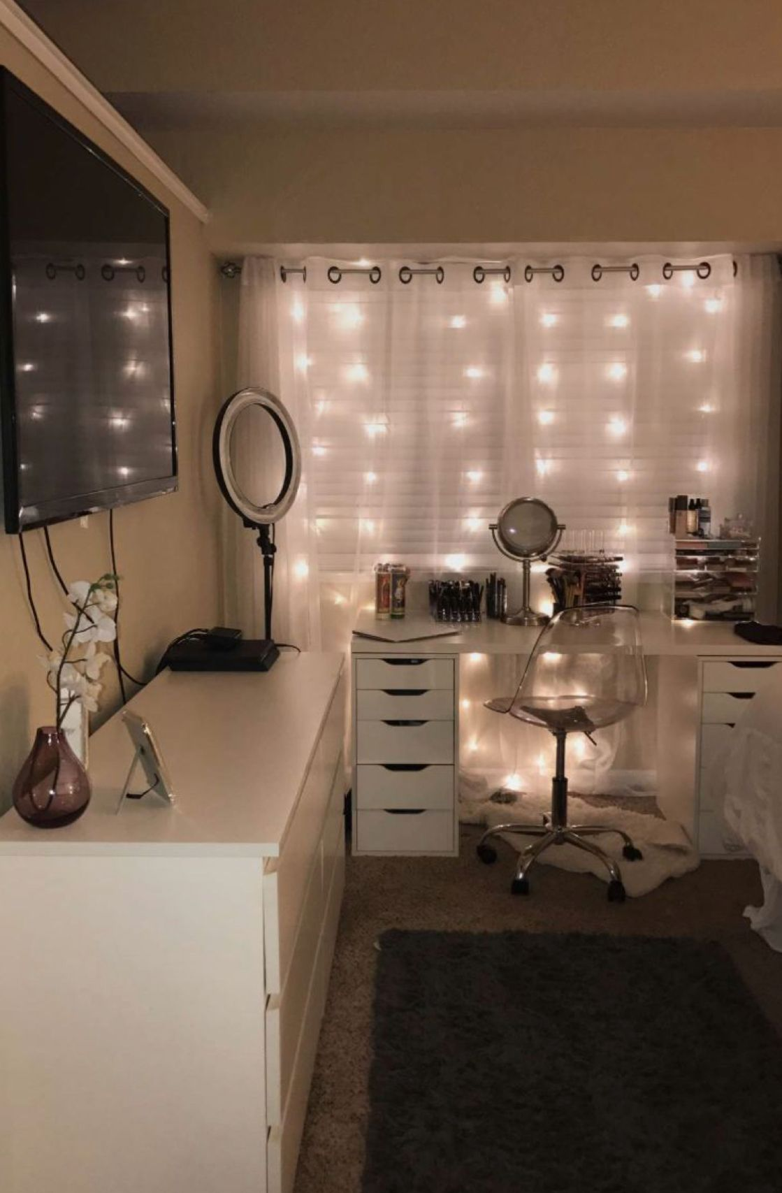 Pink And Grey Makeup Room