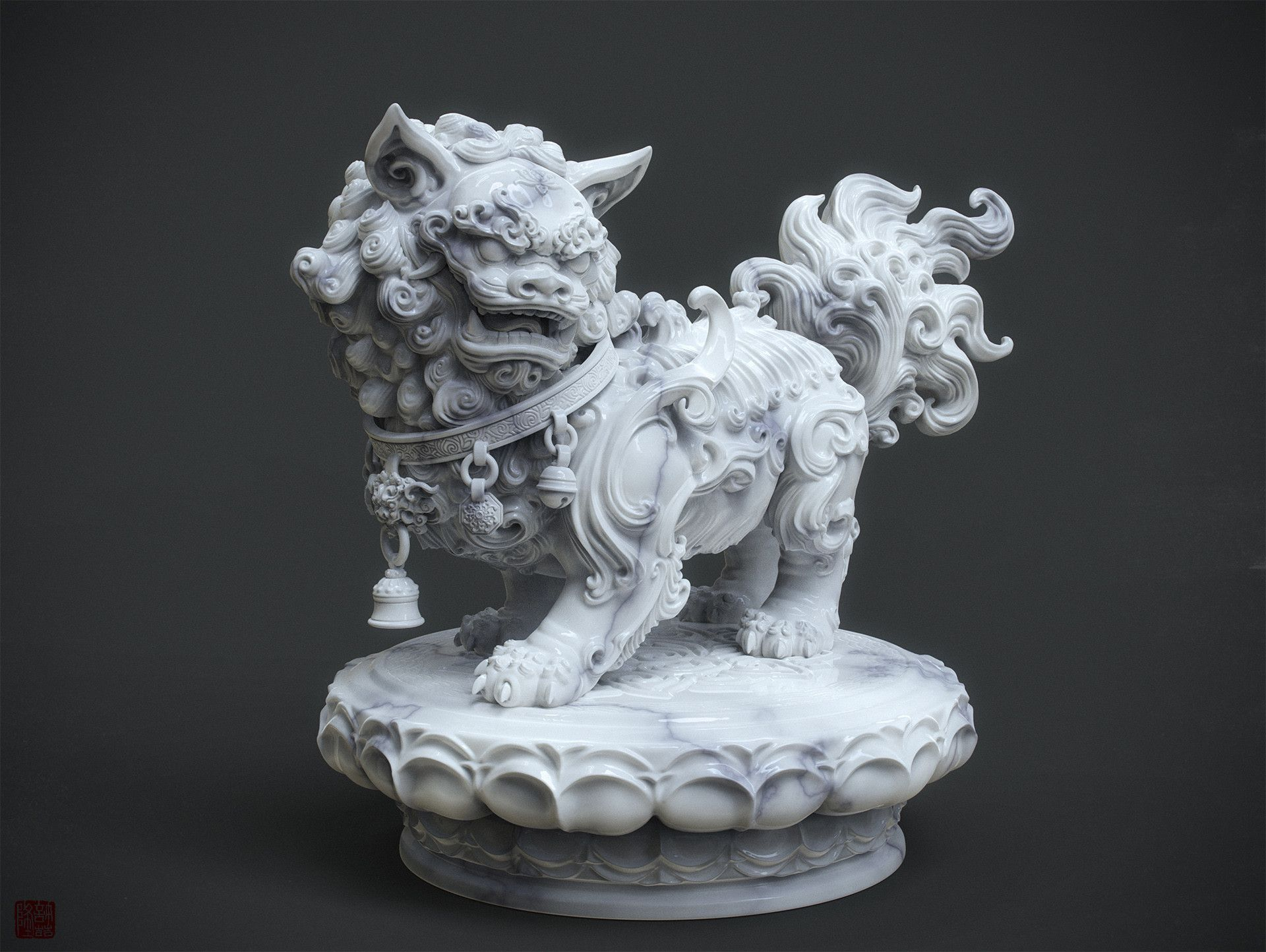 Artstation Chinese Lion Statue Marble Version And W I P Zhelong Xu Chinese Lion Statue Asian Sculptures Inspirational Sculpture