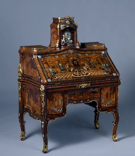 "A writing desk considered the pinnacle of Abraham Roentgen's career, in the  show ""Extravagant Inventions"" at the Met. Credit Rijksmuseum, Amsterdam. - Extravagant Inventions,' Roentgen Furniture At The Met Antiques"
