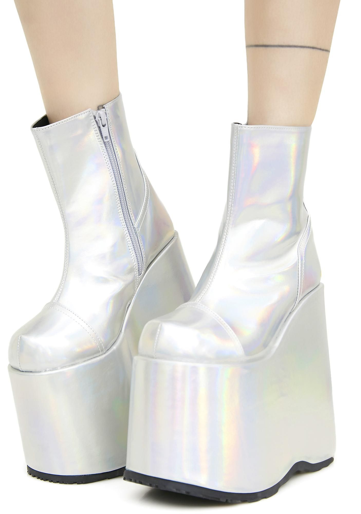 498d31401be1 Get yer intergalactic stomp on with these dope af boots featuring an ultra  shiny holographic construction