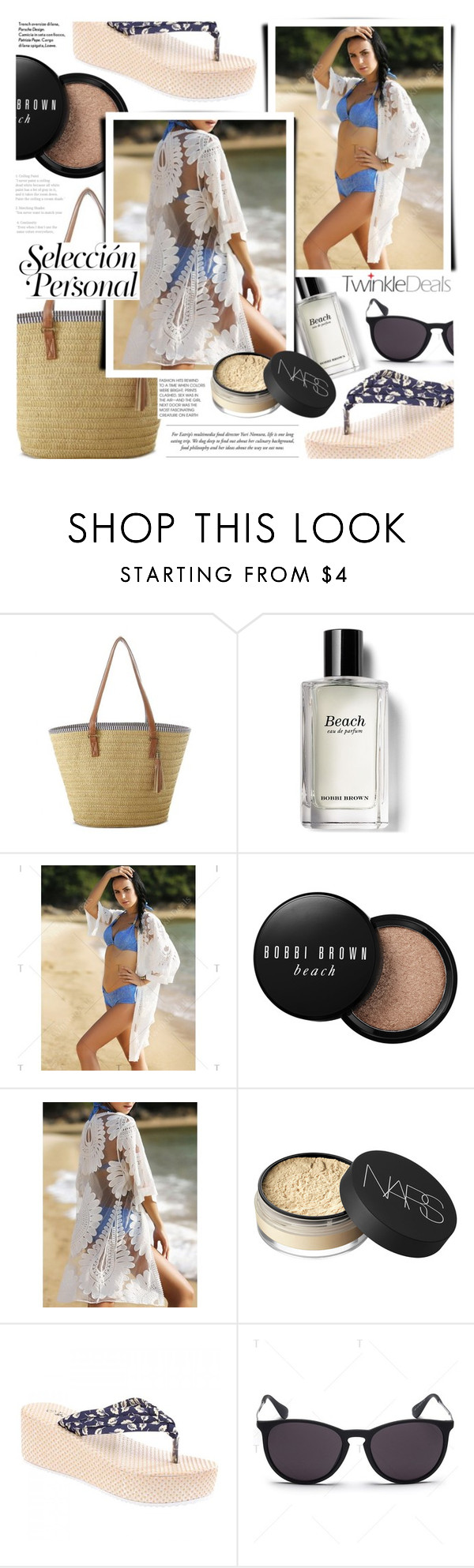 """Untitled #1510"" by noviii ❤ liked on Polyvore featuring Bobbi Brown Cosmetics, NARS Cosmetics, strawbags, beachlook and twinkledeals"