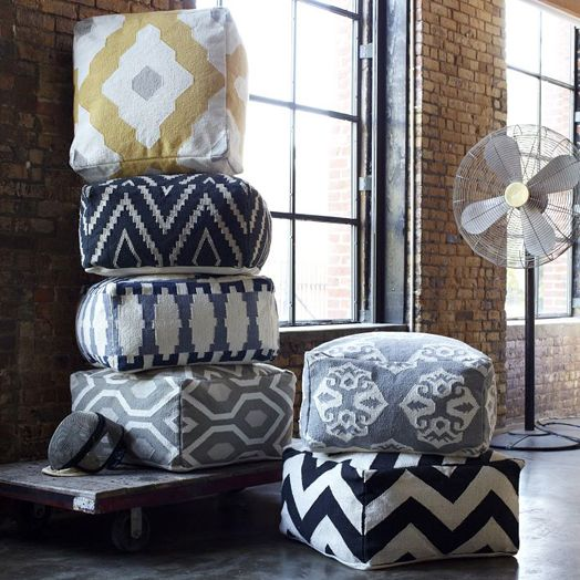 The coolest Kilim floor poufs from West Elm | Craft Projects ...