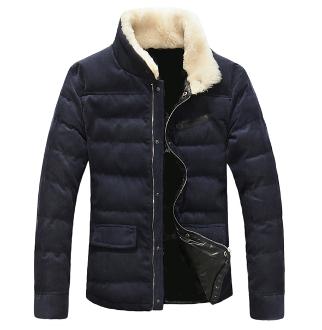 Men's Corduroy Coat with Fur Collar