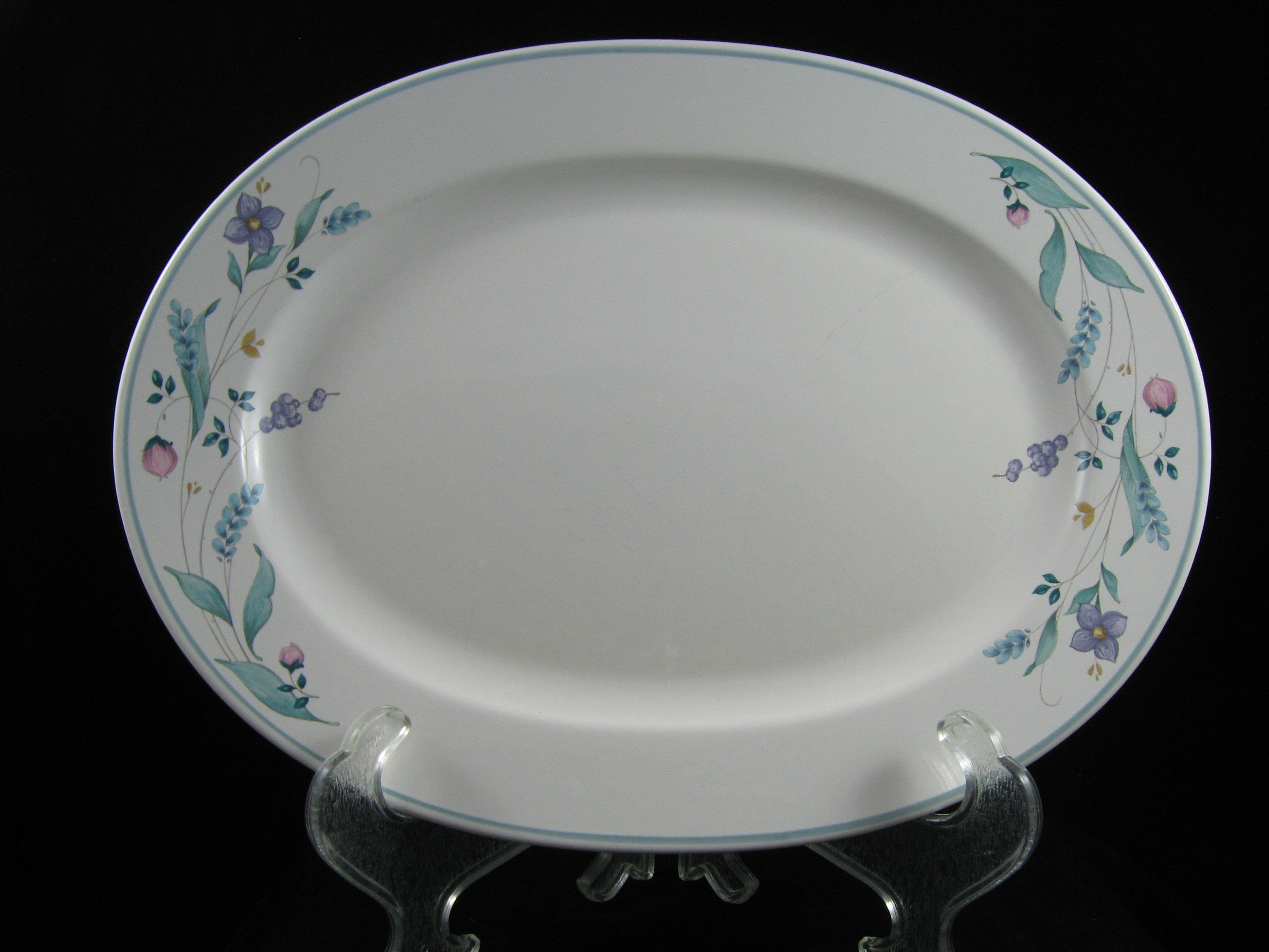 Pfaltzgraff April Pattern Large Oval Serving Platter Green Trim and ...
