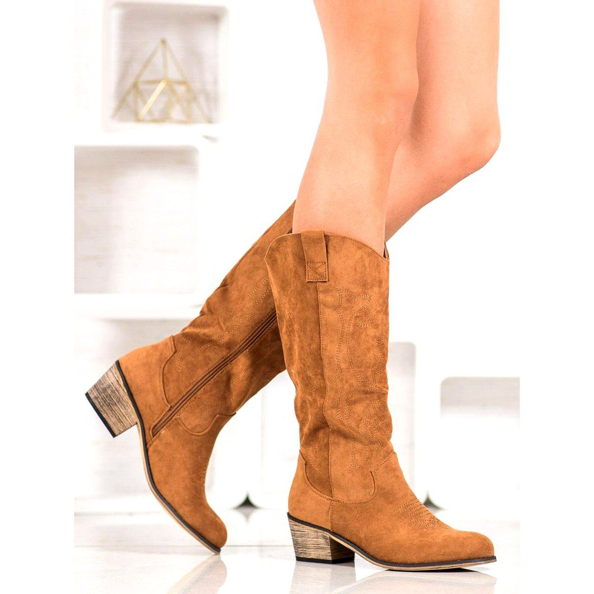 Abloom Zamszowe Kozaki Kowbojki Brazowe Ankle Boot Shoes Boots