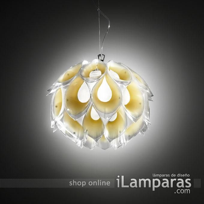 Flora suspension pequeno 1xe27 42w amarillo (FLO85SOS0001G-000) - Slamp / iLamparas.com