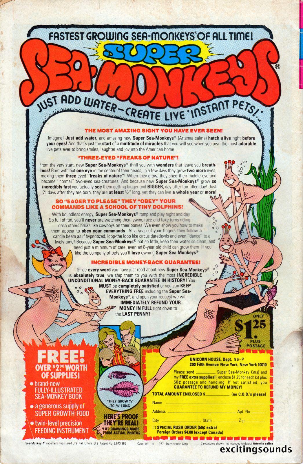 Super Sea Monkeys Vintage Advertisement Late 1970s Sea Monkeys