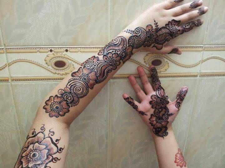 Full Arm Mehndi Designs : Stylish full arm bridal henna mehndi designs arabic for