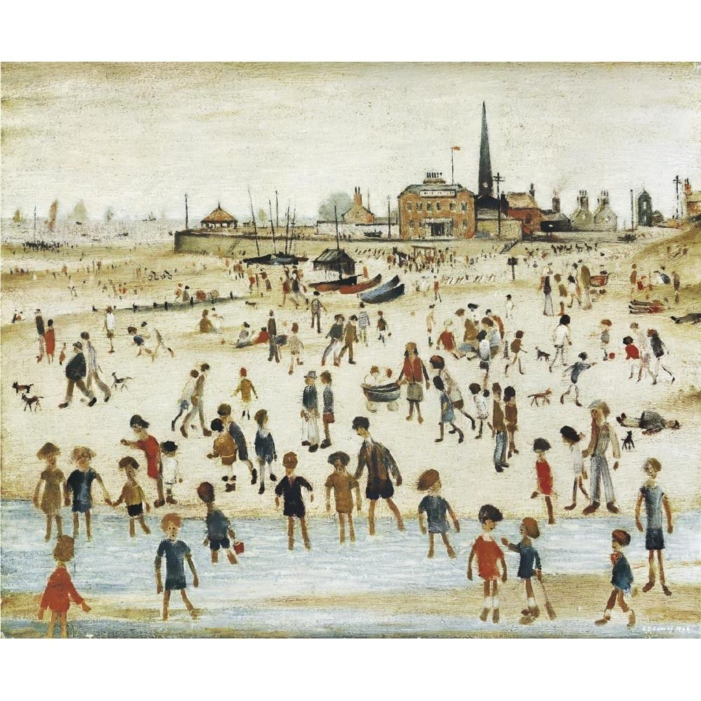 L S Lowry Medici Print Waiting for the Tide