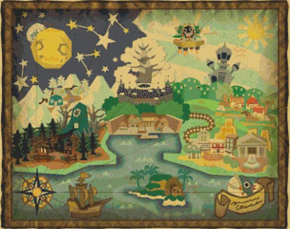 Paper mario the thousand year door world map cross stitch pattern paper mario the thousand year door world map cross stitch pattern gumiabroncs Gallery