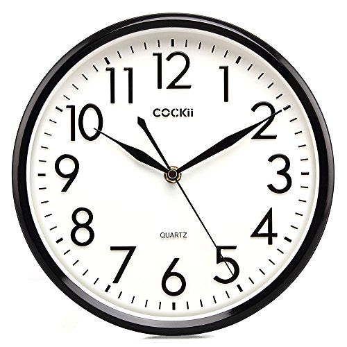 cockii 10 inch silent wall clock non ticking quartz on wall clocks battery operated id=49432