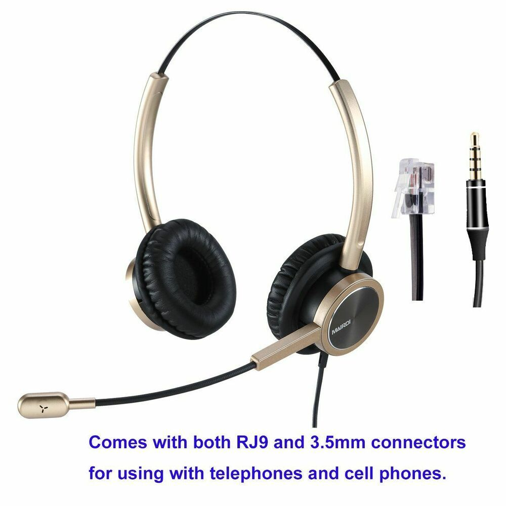 Telephone Headset with RJ9 for Cisco Phone Call Center Headset with Noise Cancel