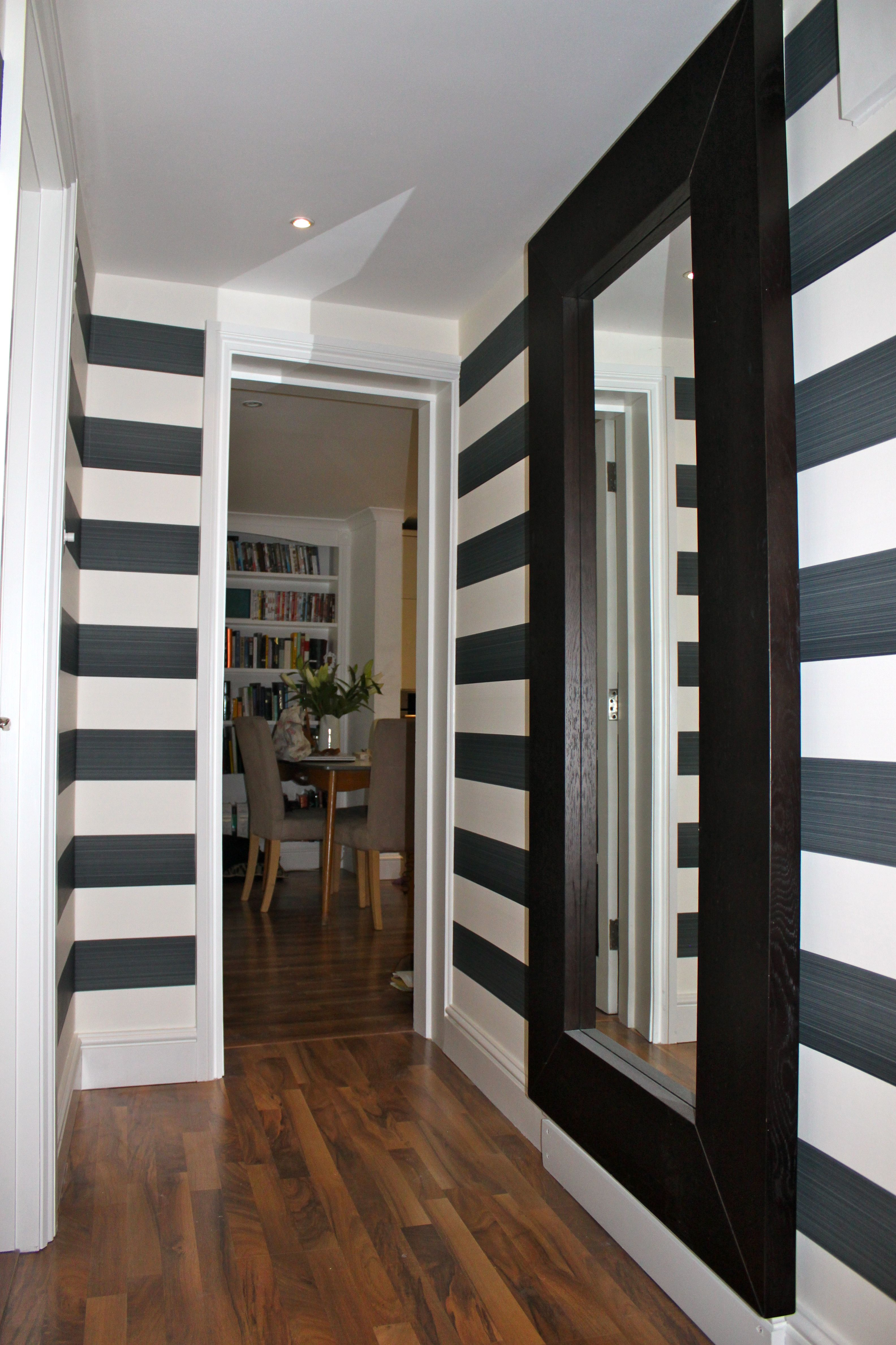 Hall with horizontal striped wallpaper Striped wallpaper